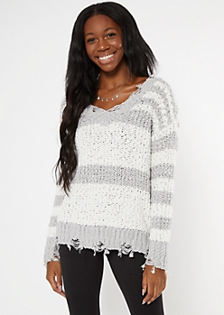 Gray Striped Distressed Textured Knit Sweater