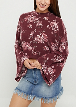 Burgundy Floral Hacci Knit Sweater