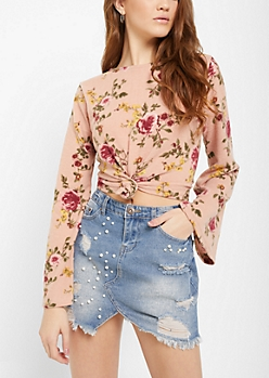 Floral Knotted Hem Hacci Sweater