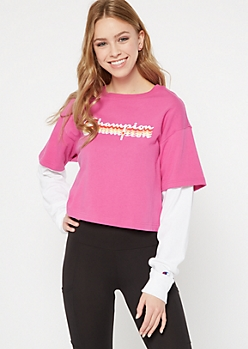 Champion Magenta Multi Logo Layered Top