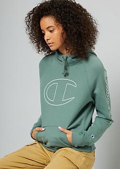 Champion Green Logo Sleeve Cowl Neck Hoodie