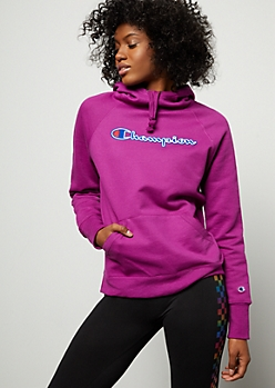 Champion Purple Chest Graphic Hoodie