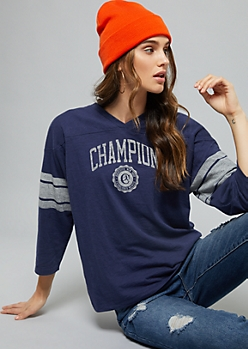 Champion Navy Logo Varsity Striped Graphic Tee