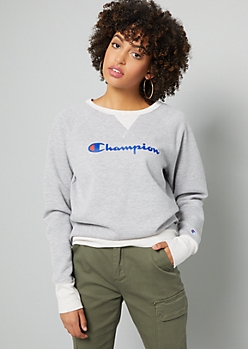 Champion Gray Contrast Trim Crew Neck Sweatshirt