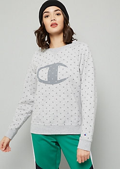 Champion Gray Logo Print Crew Neck Sweatshirt