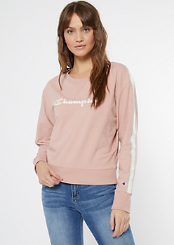 Champion Pink Side Striped Fitted Sweatshirt