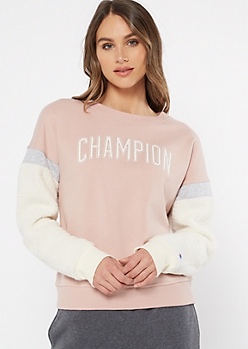 Champion Pink Sherpa Sleeve Sweatshirt