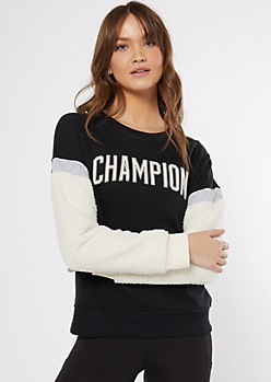 Champion Black Sherpa Sleeve Sweatshirt