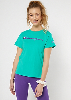 Champion Green Logo Graphic Tee