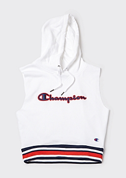 Champion White Sleeveless Cropped Hoodie