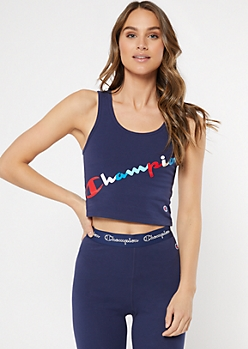 Champion Navy Logo Cropped Tank Top