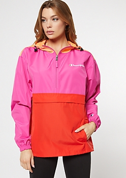 Champion Orange Colorblock Windbreaker