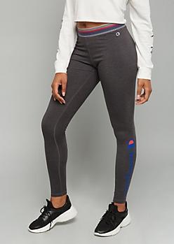 Champion Gray Striped Logo Low Rise Leggings