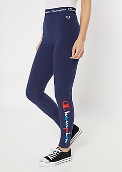 Champion Navy Logo Print Leggings