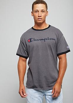 Champion Charcoal Gray Logo Ringer Tee