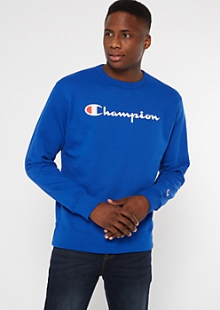 Champion Blue Fleece Crew Neck Sweatshirt