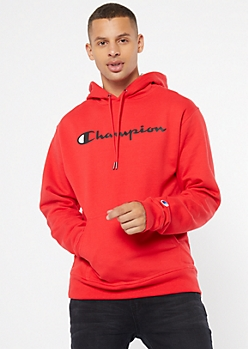 Champion Red Pullover Graphic Hoodie