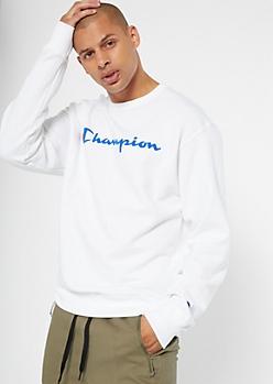 Champion White Fleece Lined Sweatshirt
