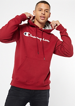 Champion Burgundy Chest Logo Graphic Hoodie