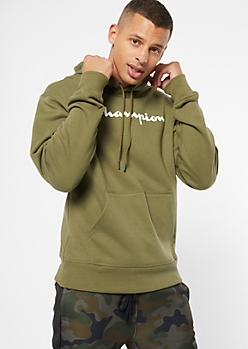 Champion Olive Chest Logo Graphic Hoodie