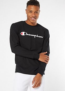 Champion Black Logo Chest Long Sleeve Graphic Tee