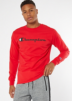 Champion Red Logo Chest Long Sleeve Graphic Tee