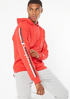 Champion Red Side Logo Hoodie