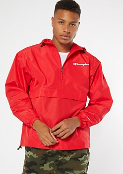 Champion Red Pullover Windbreaker