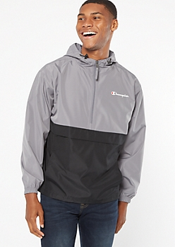 Champion Gray Colorblock Half Zip Windbreaker