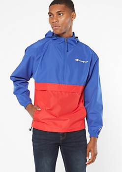 Champion Blue Colorblock Half Zip Windbreaker