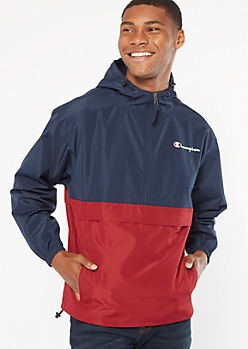 Champion Navy Colorblock Half Zip Windbreaker