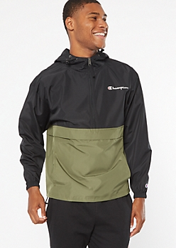 Champion Olive Colorblock Half Zip Windbreaker