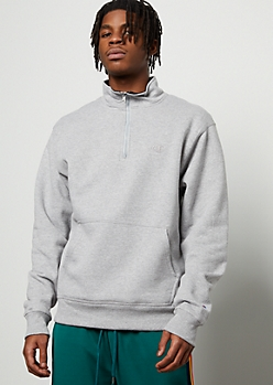 Champion Heather Gray Half Zip Fleece Pullover Sweatshirt
