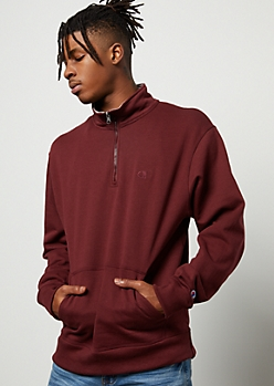 Champion Burgundy Half Zip Fleece Pullover Sweatshirt