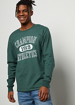 Champion Dark Green Athletic Long Sleeve Graphic Tee