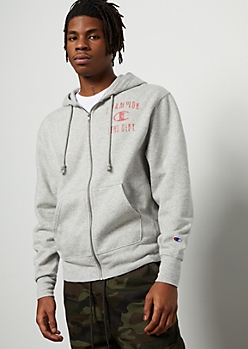 Champion Heather Gray Athletic Dept Zip Front Hoodie