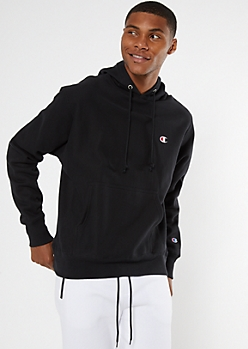 Champion Black Embroidered Logo Hoodie