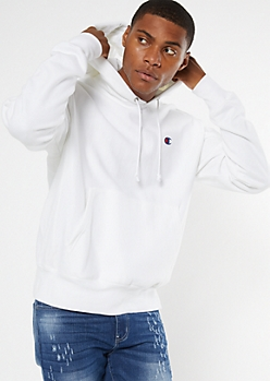 Champion White Embroidered Logo Hoodie