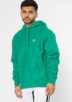 Champion Green Embroidered Logo Hoodie
