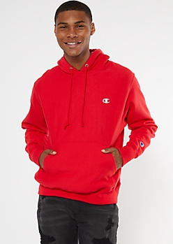 Champion Red Embroidered Logo Hoodie