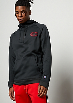 Champion Black Half Zip Fleece Hoodie