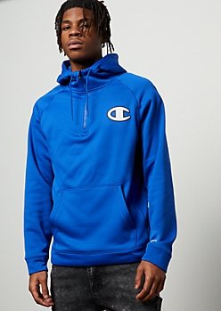 Champion Royal Blue Half Zip Fleece Hoodie