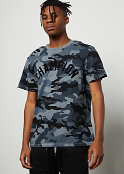 Champion Navy Camo Print Felt Short Sleeve Tee