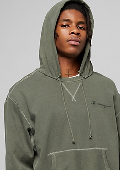Champion Green Vintage Split Crew Neck Hoodie