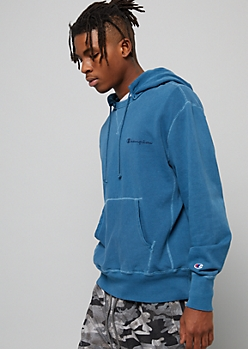 Champion Teal Vintage Split Crew Neck Hoodie