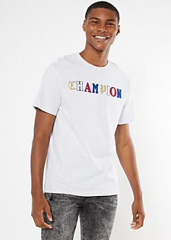 Champion Gray Mixed Chenille Patch Logo Tee