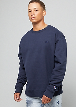 Champion Navy Logo Patch Crewneck Sweatshirt