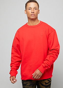 Champion Red Logo Patch Crew Neck Sweatshirt