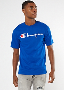 Champion Blue Scripted Logo Graphic Tee