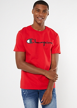 Champion Red Scripted Logo Graphic Tee